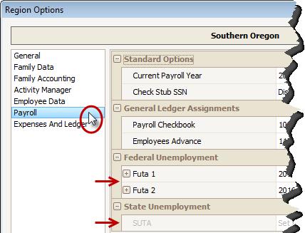 Procare Payroll: Configure FUTA and SUTA