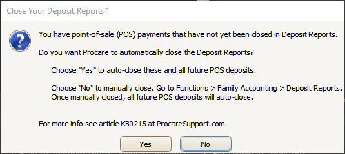 Message: Close Your Deposit Reports?