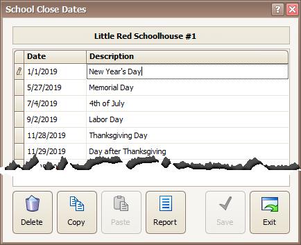 Procare: School Close Dates Screen