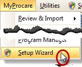 MyProcare Setup Wizard Menu