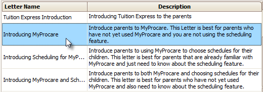 MyProcare Letter Templates