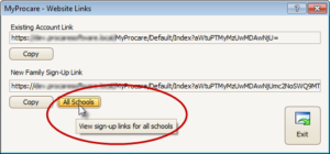 MyProcare New Family Sign-Up Links for All Schools