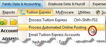 Tuition Express Menu - Process Automated Online Posting