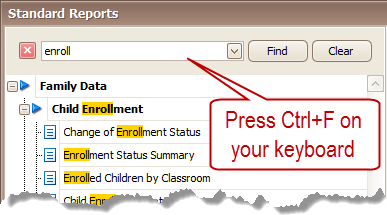 Press Ctrl+F to Search