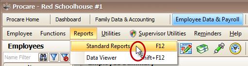 Procare Employee Data - Standard Reports