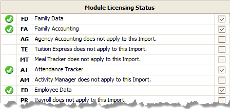 Data Import - Select Modules