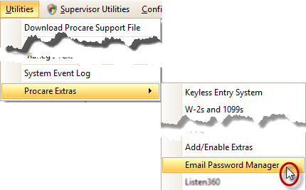 Utilities Menu: Email Password Manager