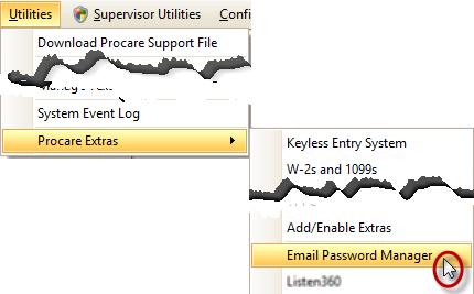 Utilities Menu: Email Password Manager
