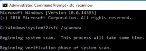 Windows 10 sfc /scannow Command Prompt