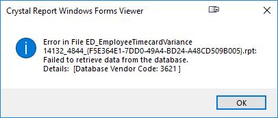 Time Card Variance Error