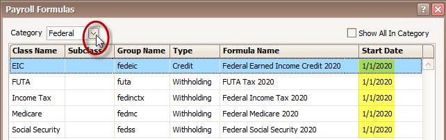 Payroll Formula Start Date