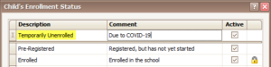 Status: Temporarily Unenrolled