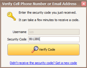 Enter Security Code to Verify Cell Number or Email